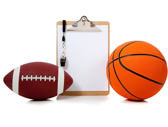 football basketball coach clipboard