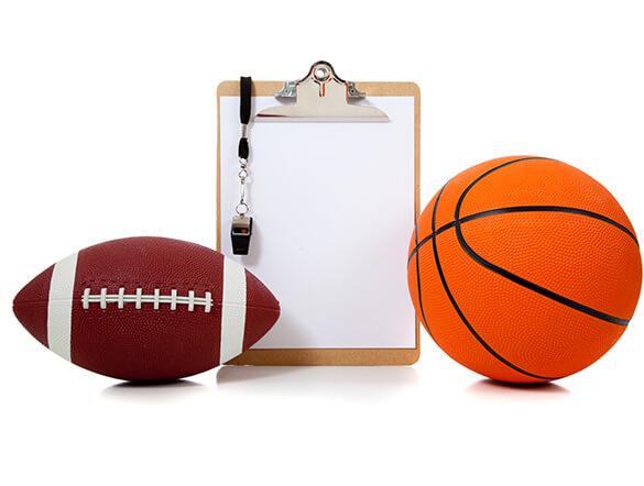 football basketball coach clipboard