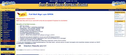 Five Cities Girls Softball League