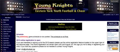 Young Knights Eastern York Youth Football